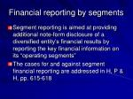 financial reporting by segments41