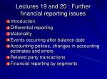 lectures 19 and 20 further financial reporting issues