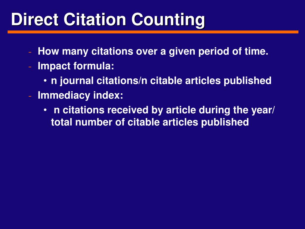 Direct Citation Counting