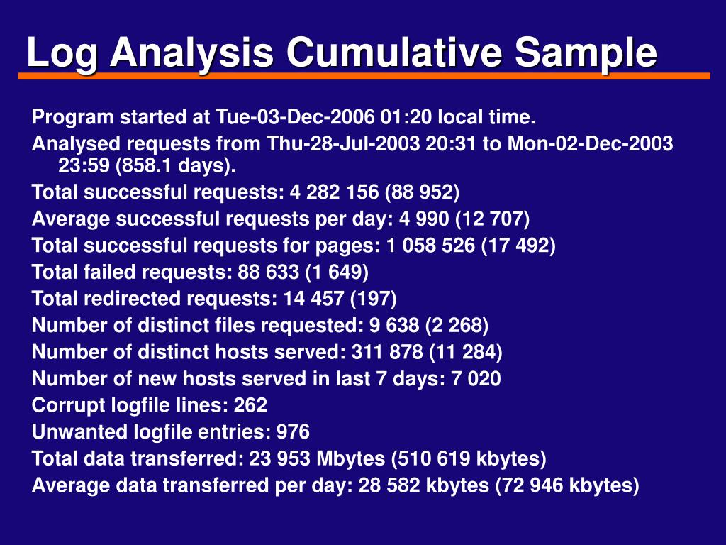 Log Analysis Cumulative Sample