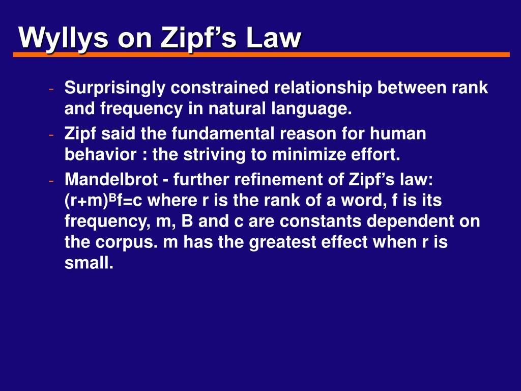 Wyllys on Zipf's Law