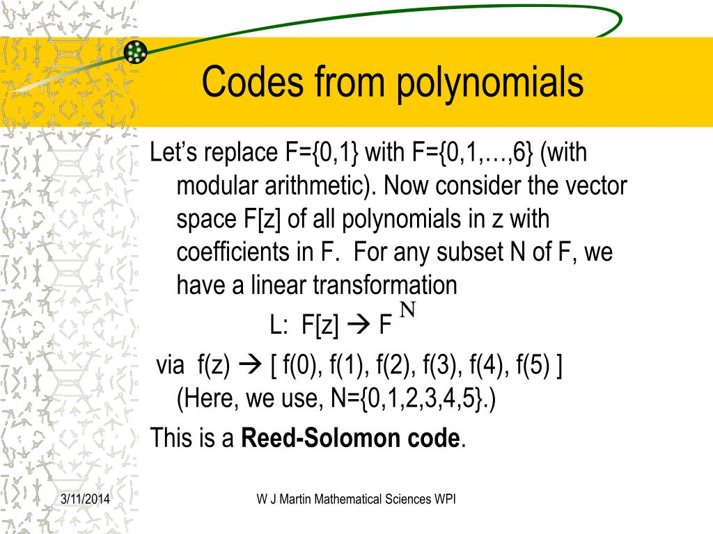 Codes from polynomials