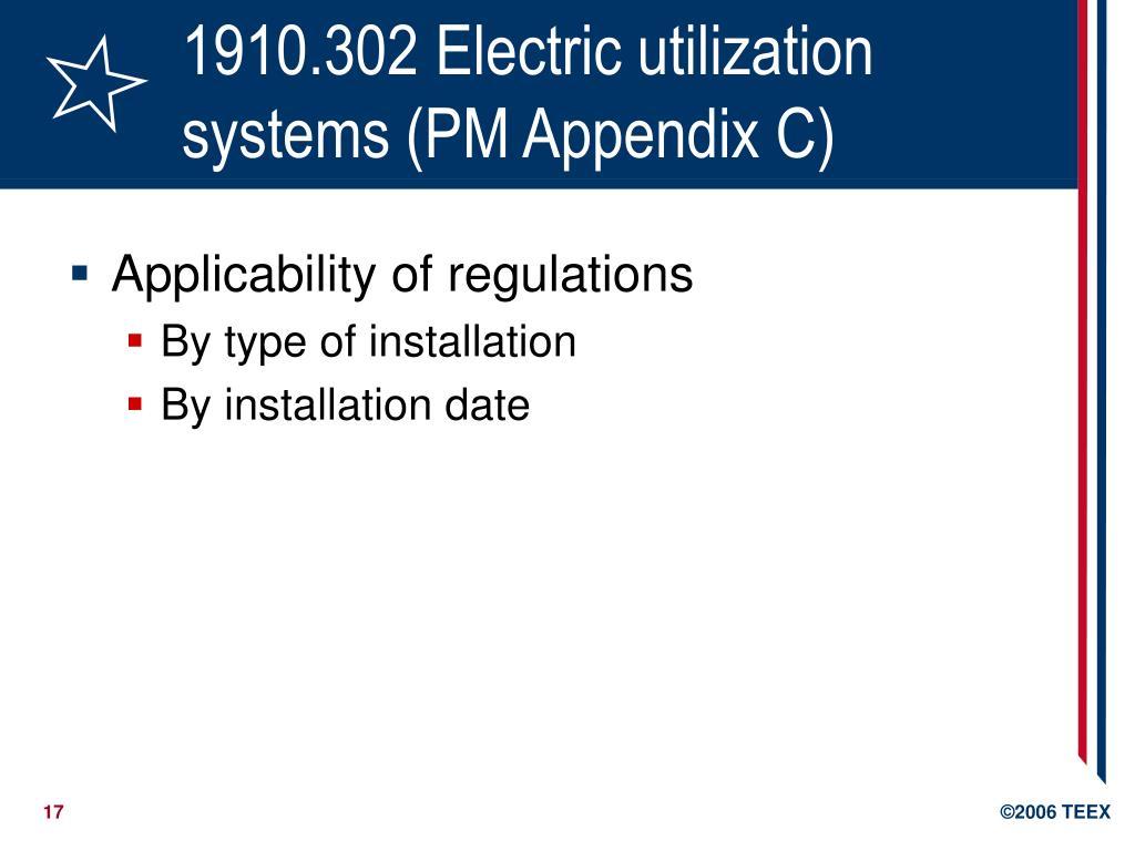 1910.302 Electric utilization systems (PM Appendix C)