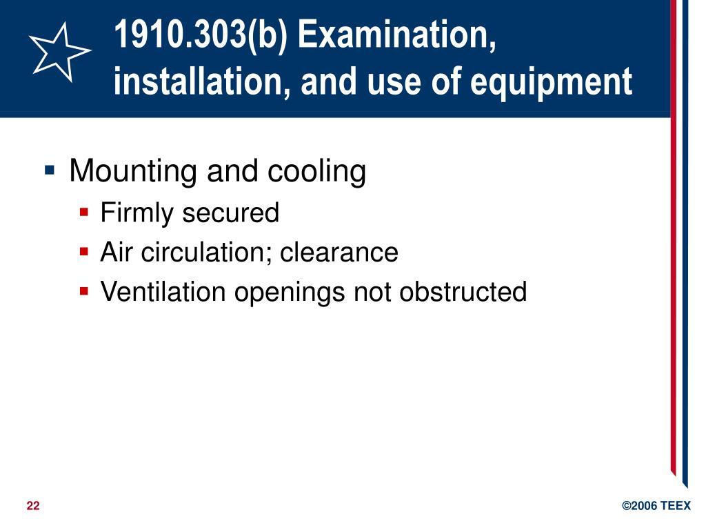 1910.303(b) Examination, installation, and use of equipment