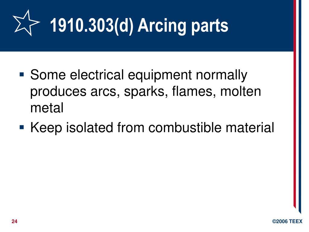 1910.303(d) Arcing parts
