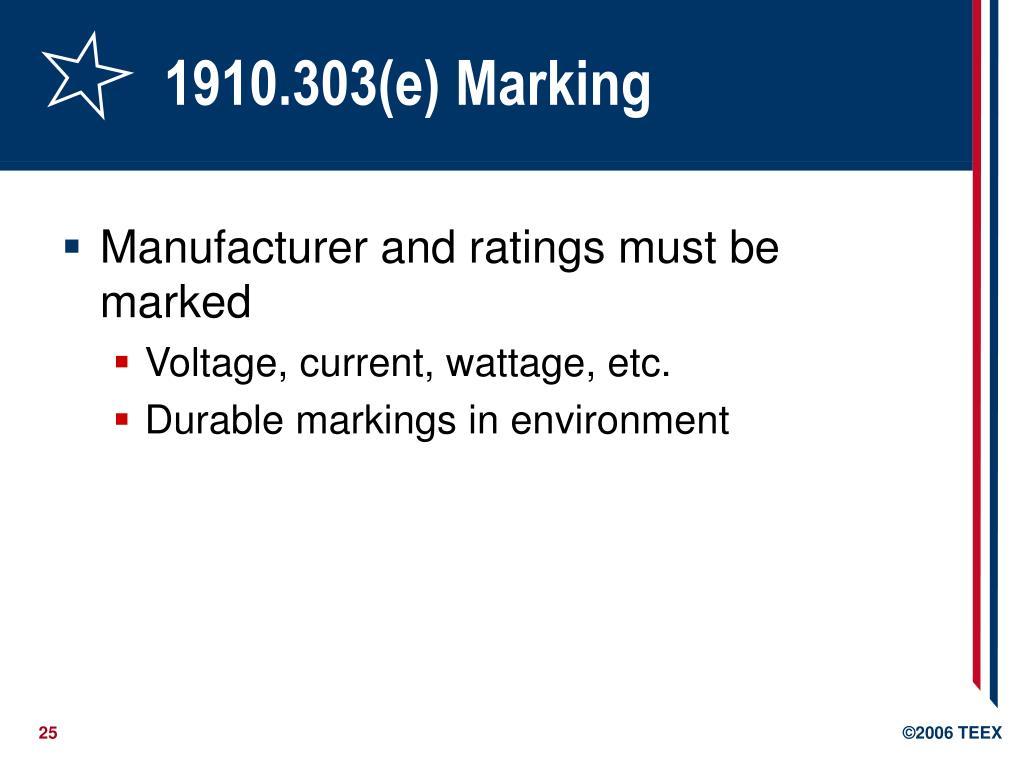 1910.303(e) Marking