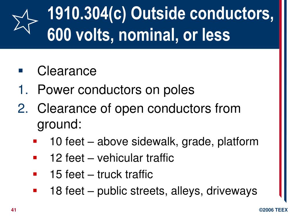 1910.304(c) Outside conductors, 600 volts, nominal, or less