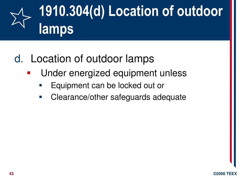 1910.304(d) Location of outdoor lamps
