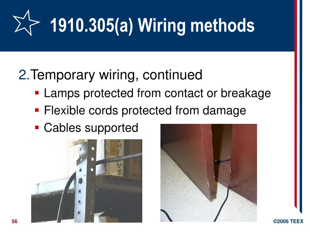 1910.305(a) Wiring methods