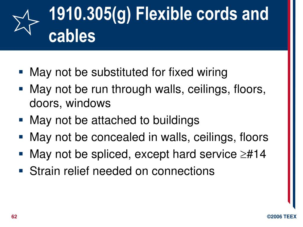 1910.305(g) Flexible cords and cables