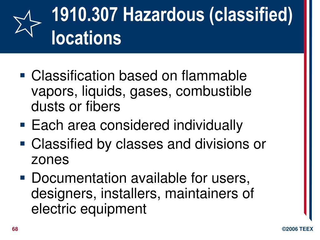1910.307 Hazardous (classified) locations