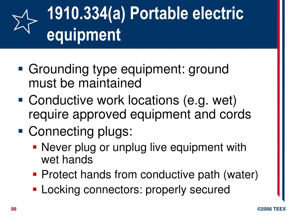 1910.334(a) Portable electric equipment