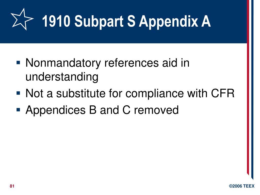 1910 Subpart S Appendix A
