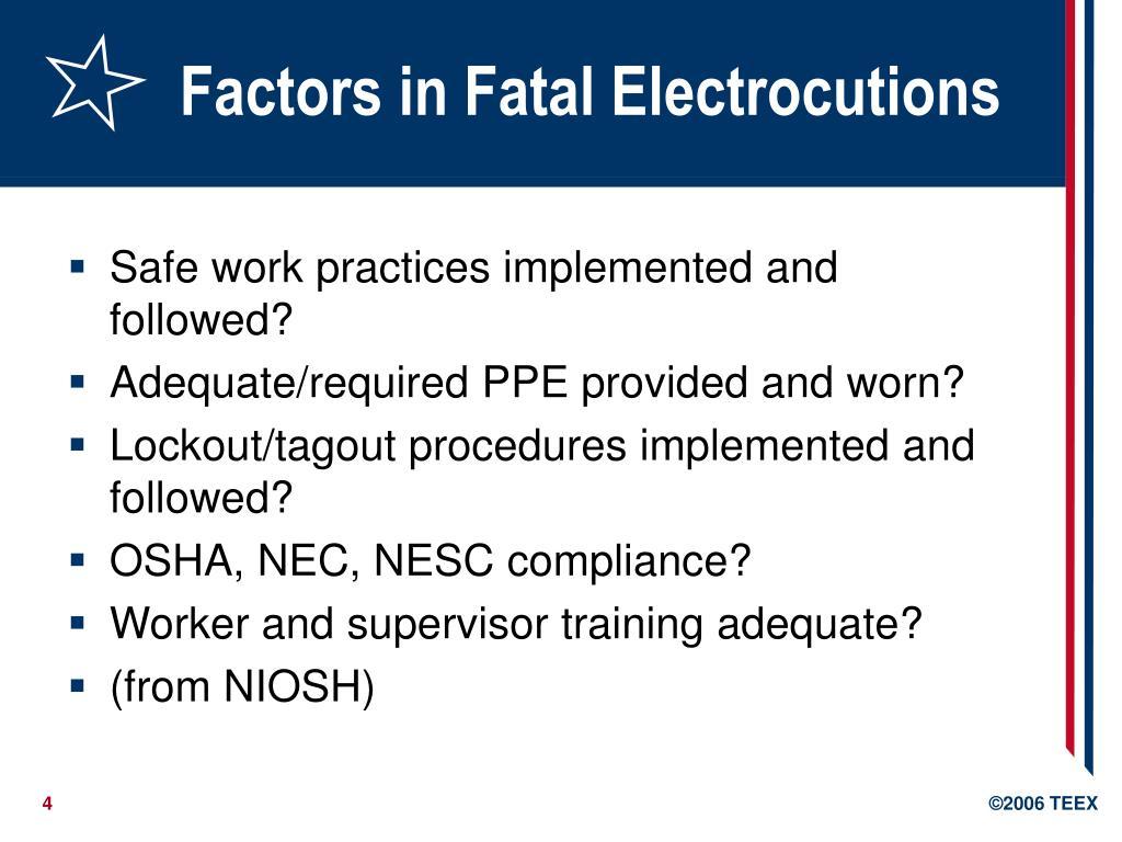 Factors in Fatal Electrocutions
