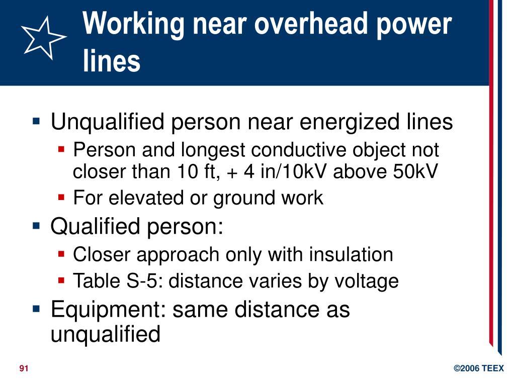 Working near overhead power lines