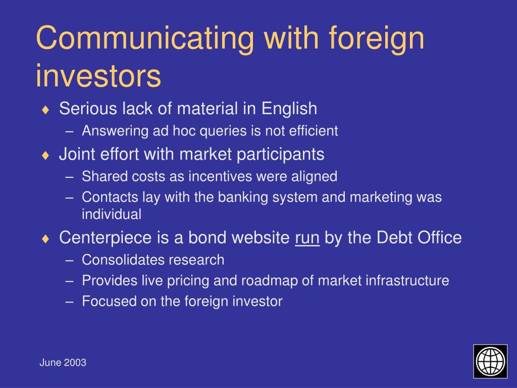 Communicating with foreign investors