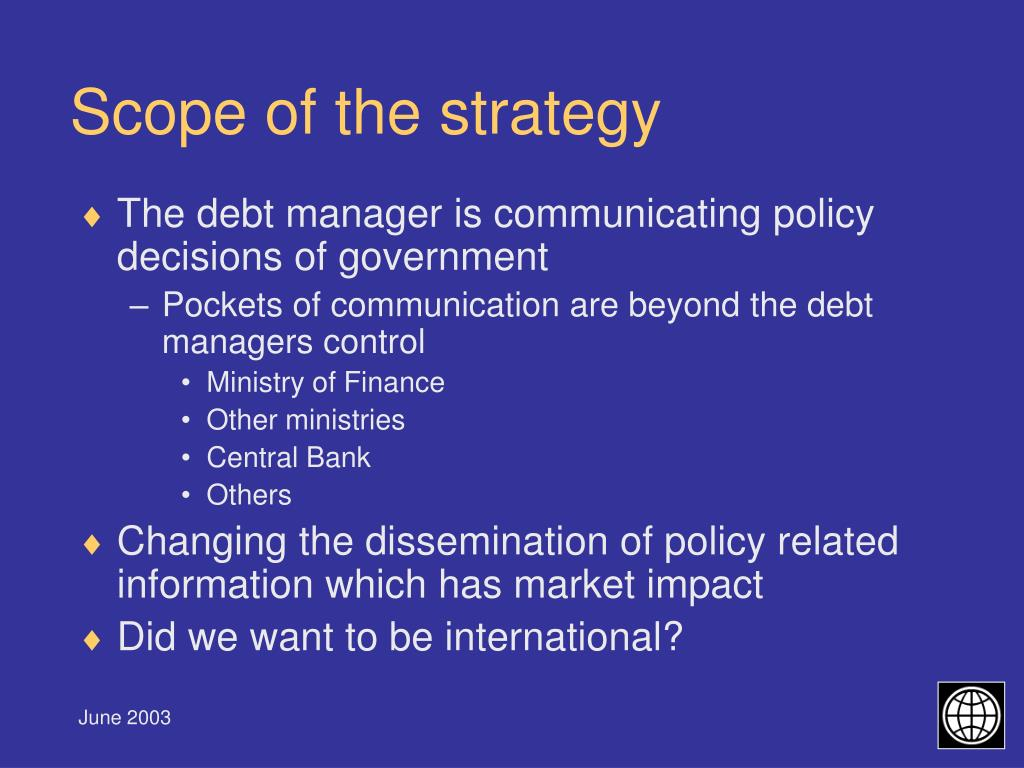 Scope of the strategy