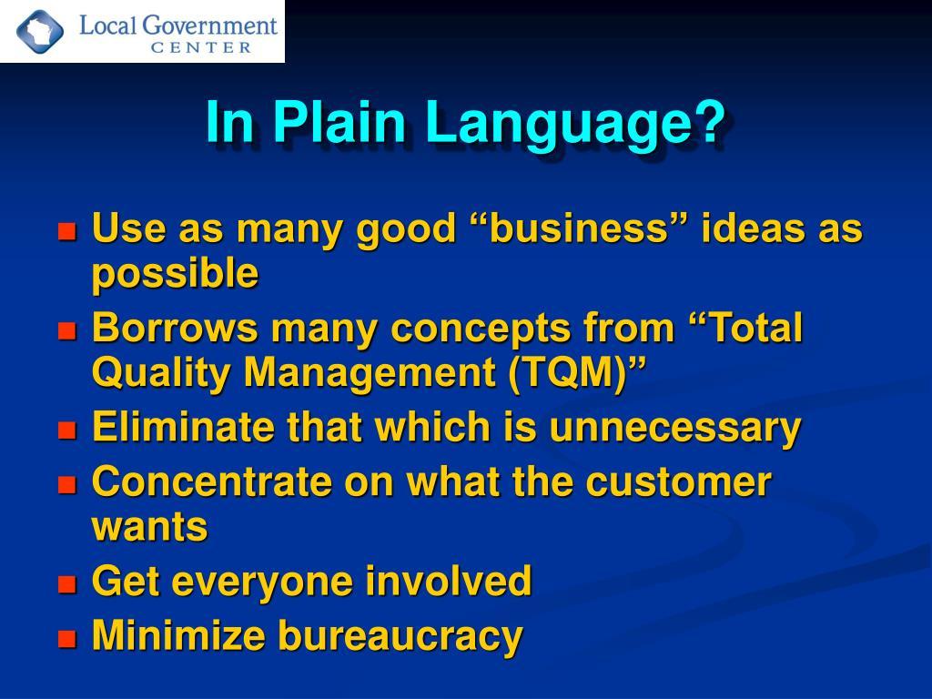 In Plain Language?