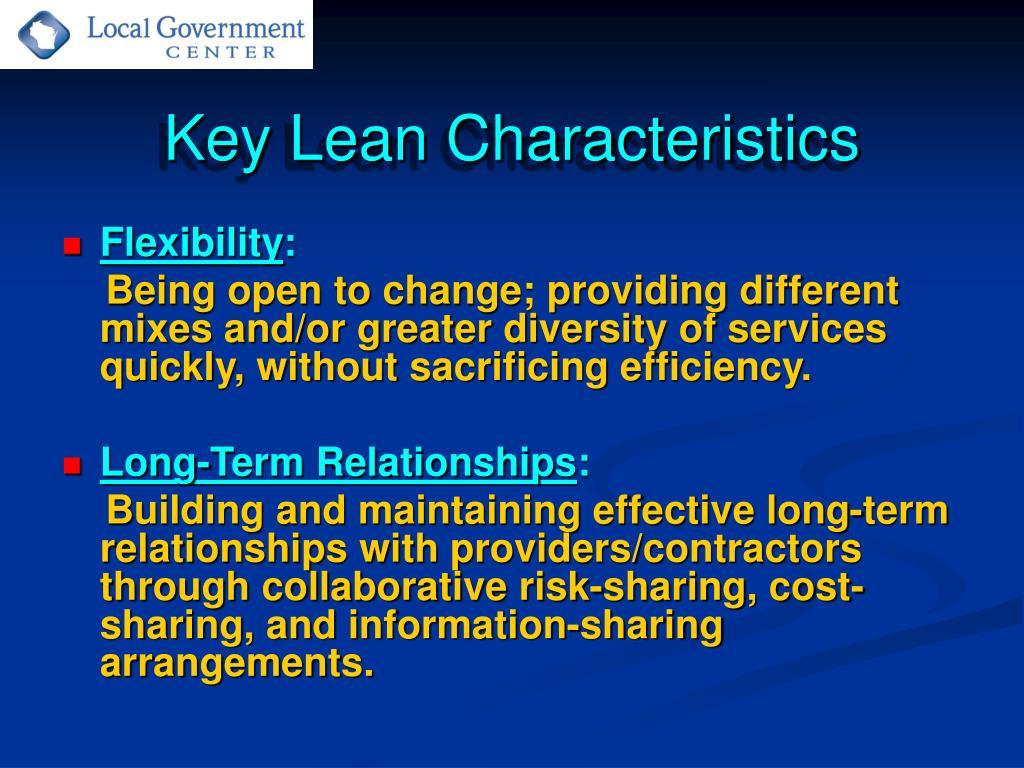 Key Lean Characteristics