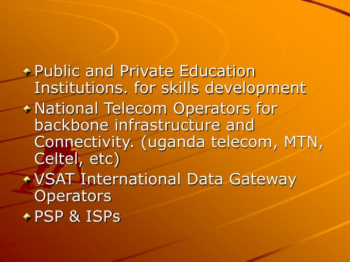Public and Private Education Institutions. for skills development