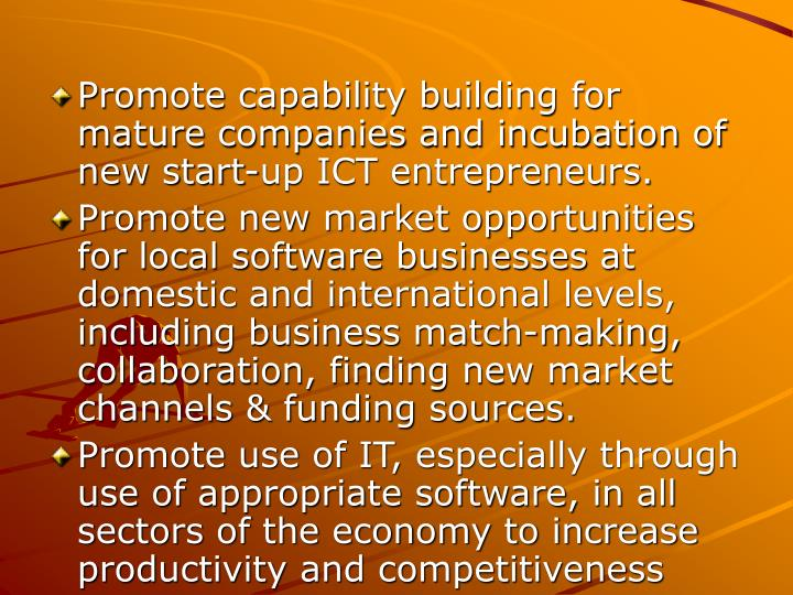 Promote capability building for mature companies and incubation of new start-up ICT entrepreneurs.