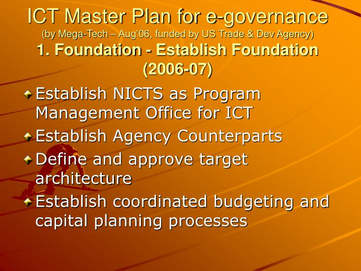 ICT Master Plan for e-governance