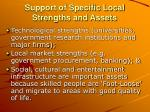 support of specific local strengths and assets