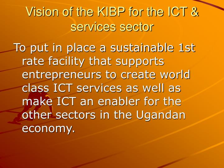 Vision of the KIBP for the ICT & services sector