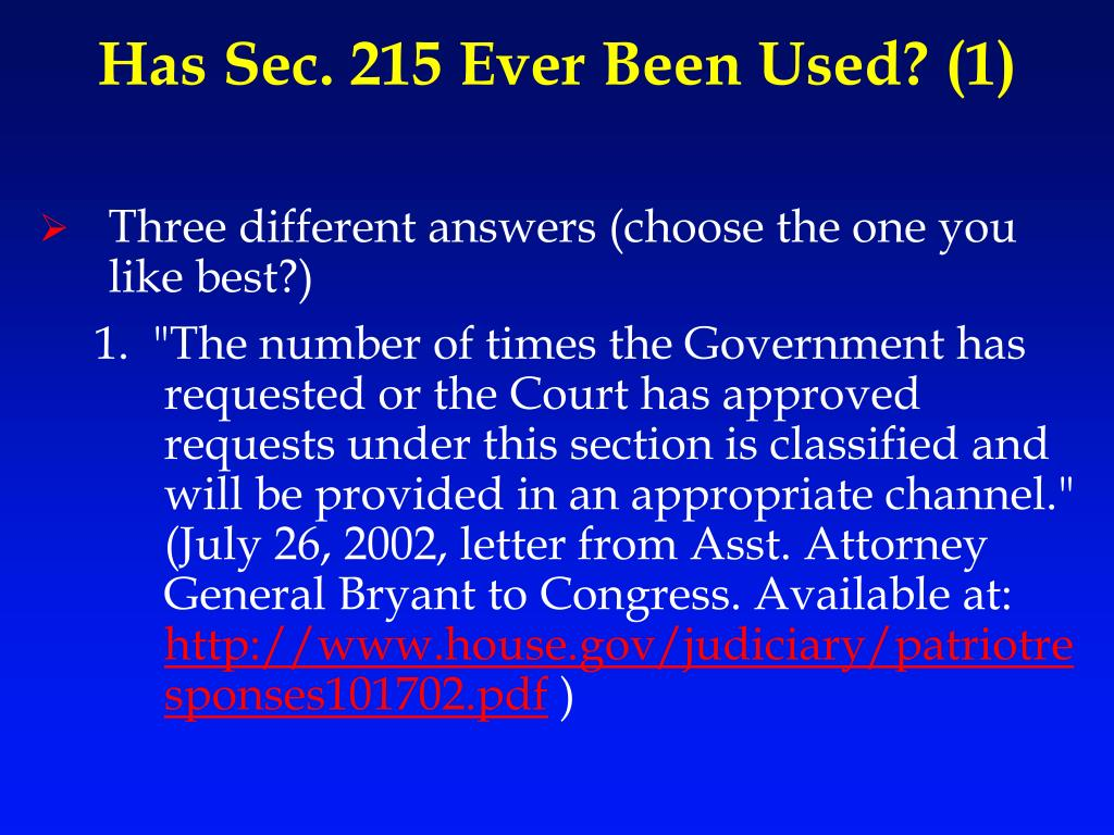 Has Sec. 215 Ever Been Used? (1)
