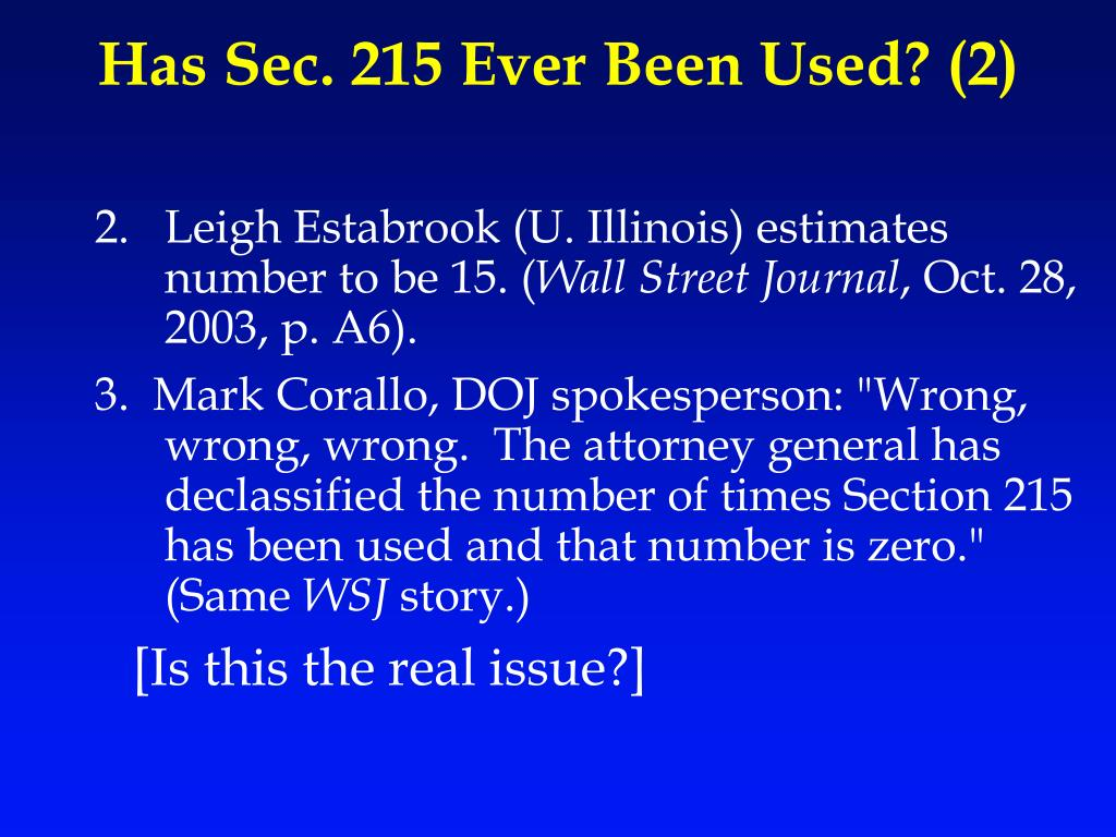 Has Sec. 215 Ever Been Used? (2)