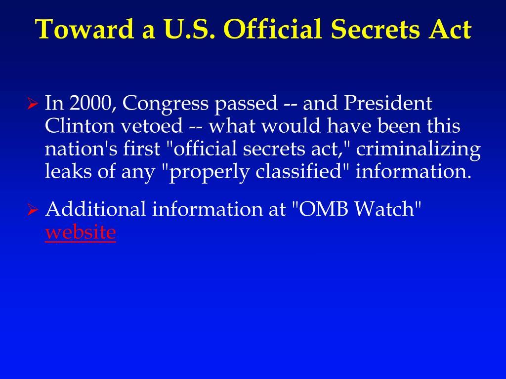 Toward a U.S. Official Secrets Act