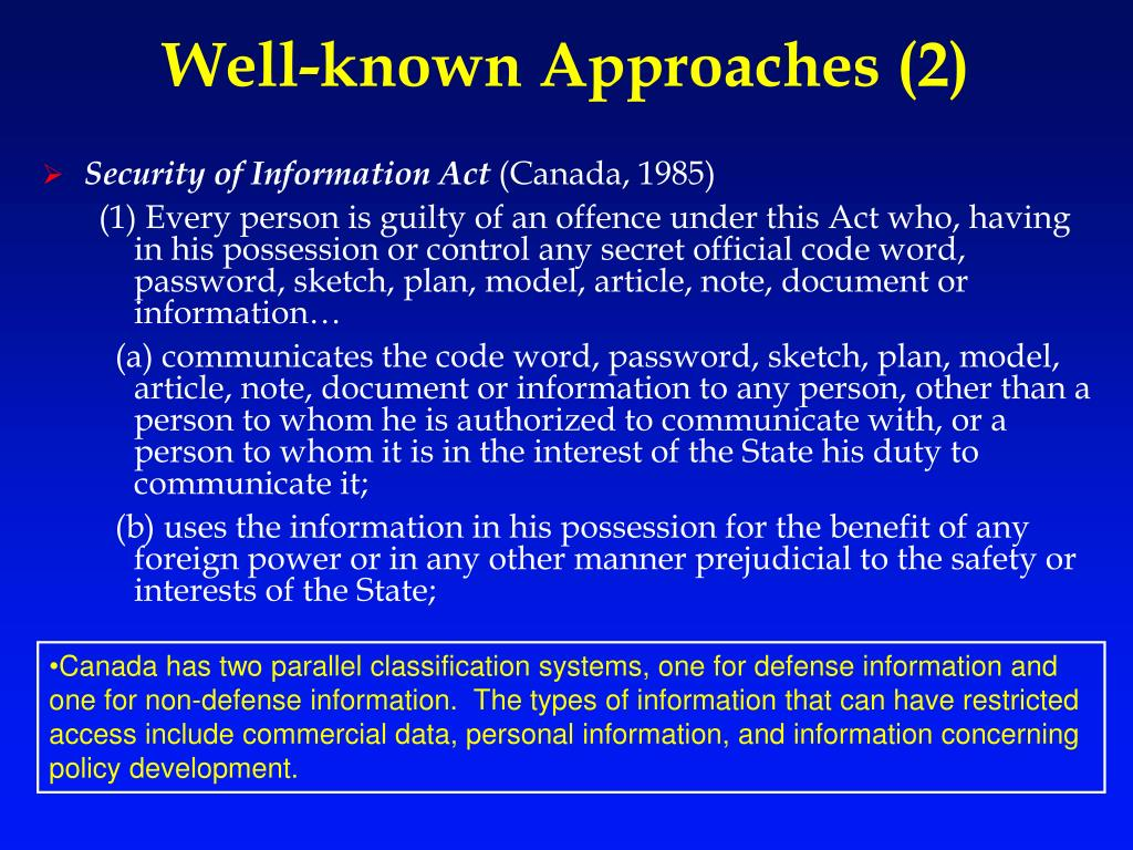 Well-known Approaches (2)