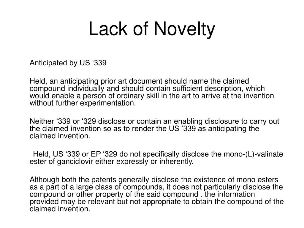 Lack of Novelty