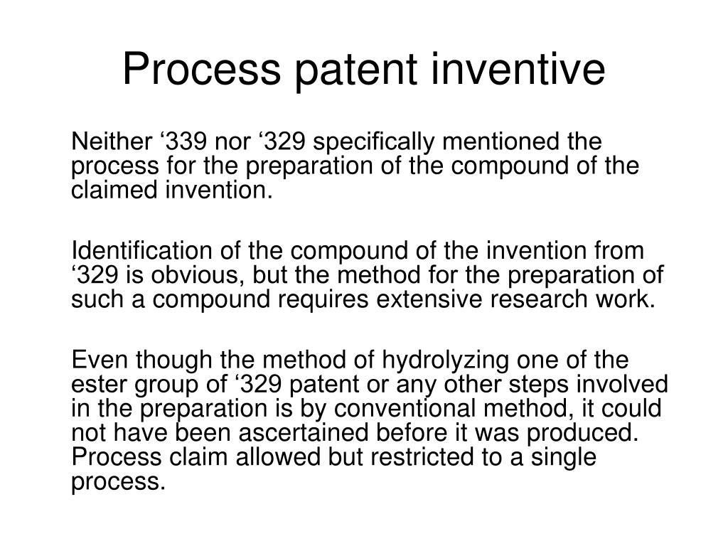 Process patent inventive