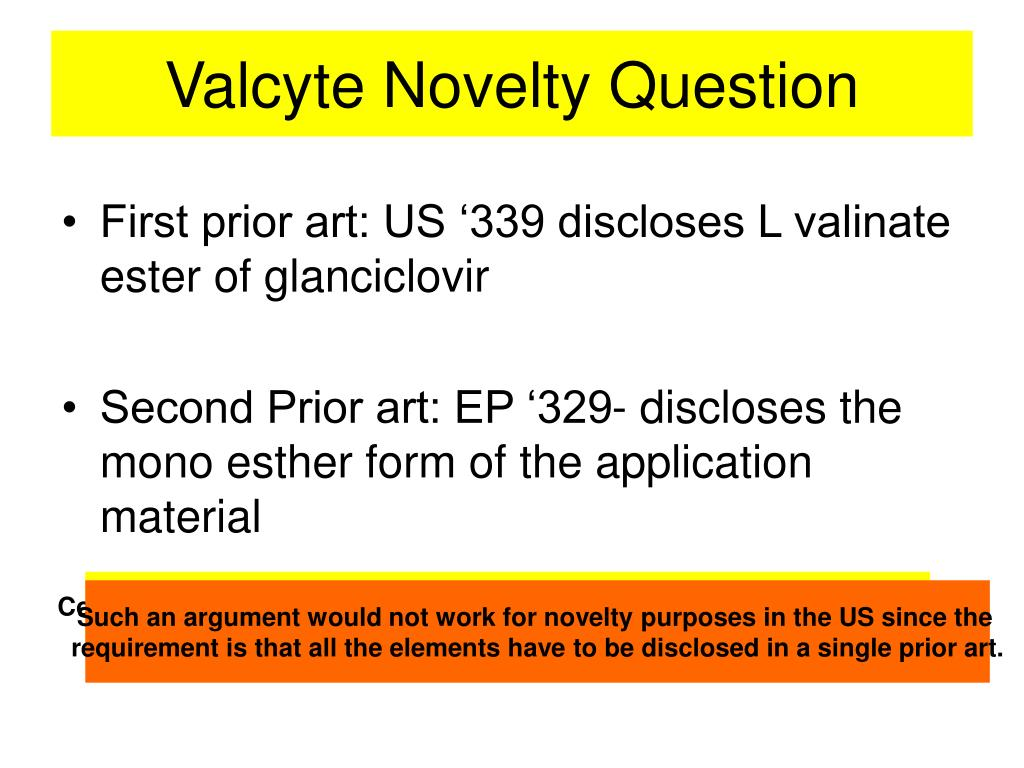 Valcyte Novelty Question