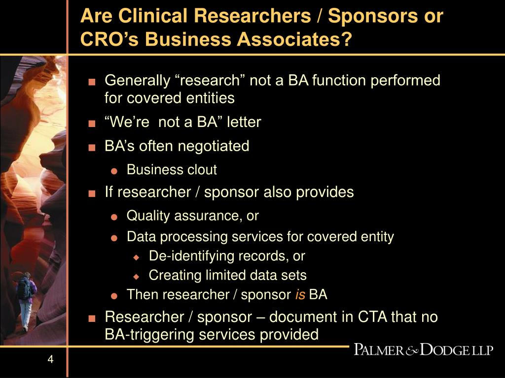 Are Clinical Researchers / Sponsors or CRO's Business Associates?