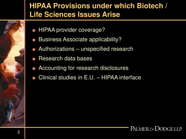 Hipaa provisions under which biotech life sciences issues arise