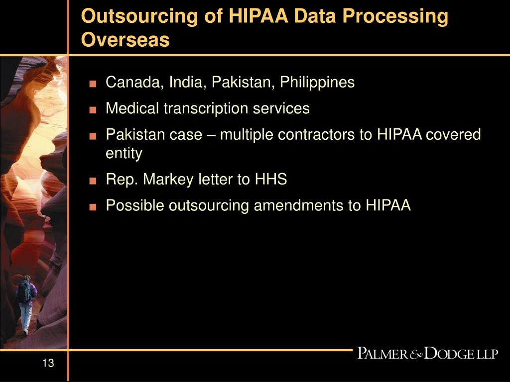 Outsourcing of HIPAA Data Processing Overseas