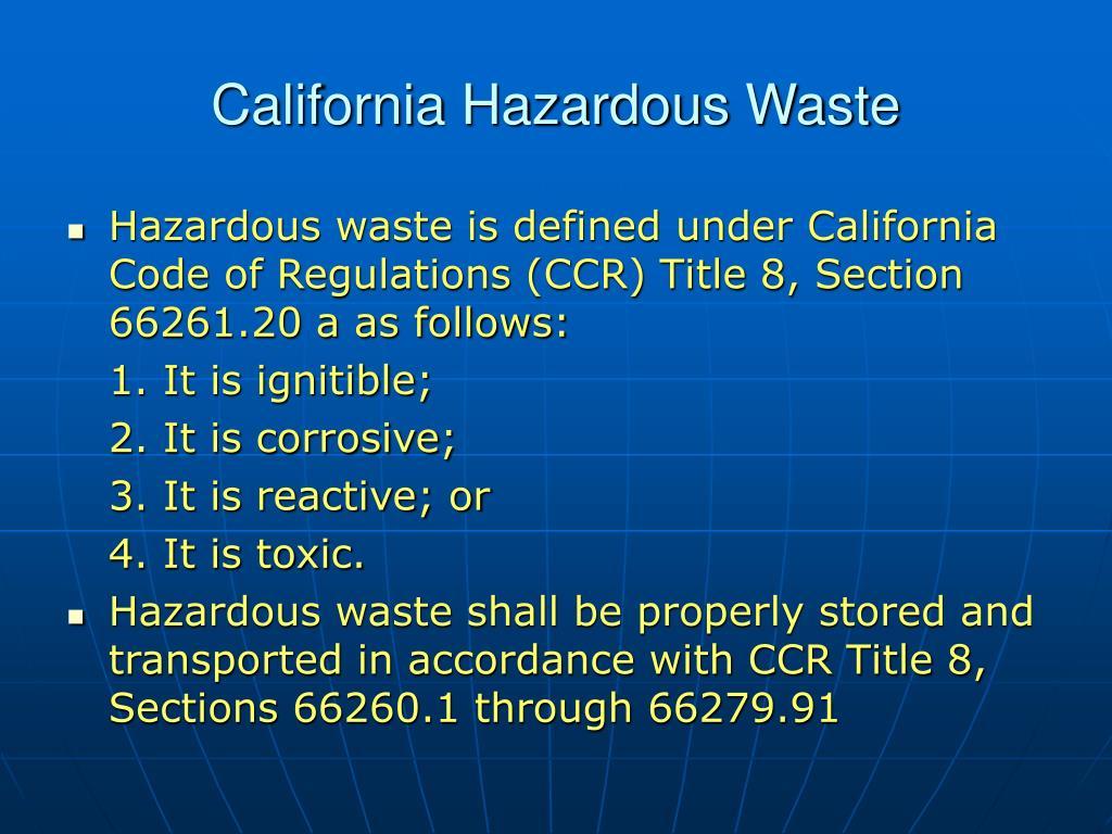 California Hazardous Waste