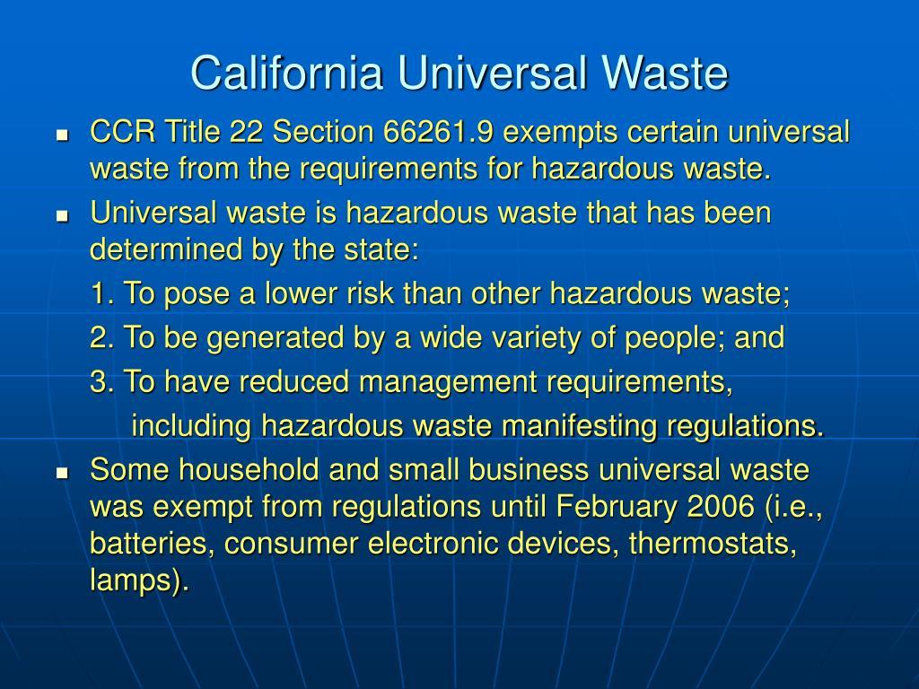 California Universal Waste
