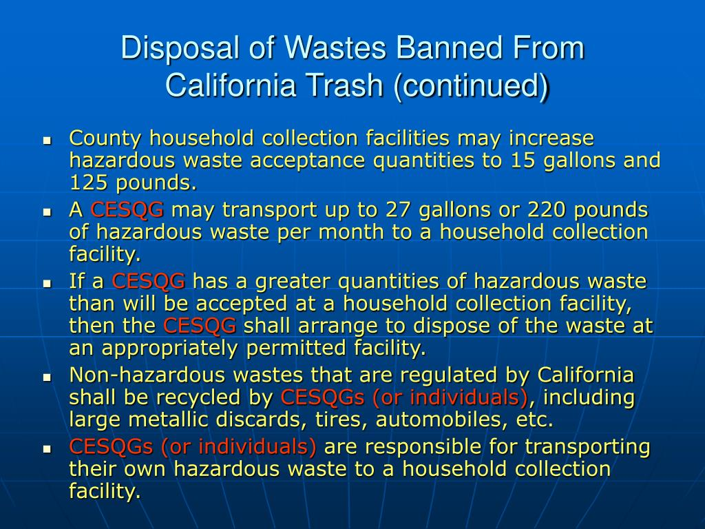 Disposal of Wastes Banned From