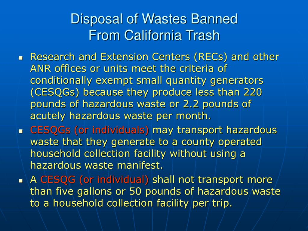 Disposal of Wastes Banned