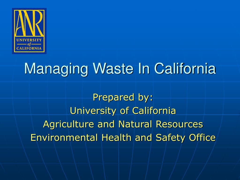Managing Waste In California