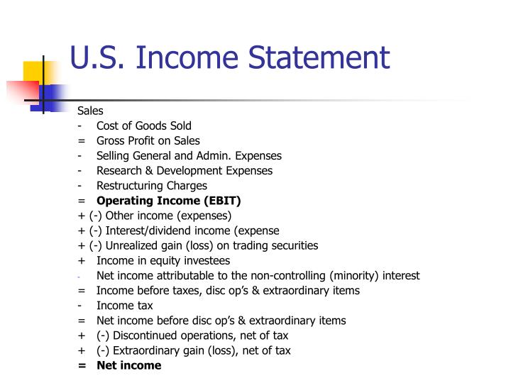 U s income statement