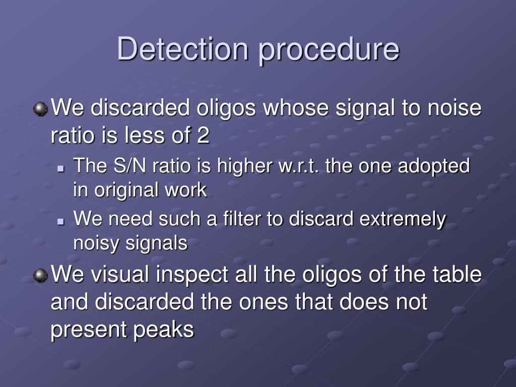 Detection procedure