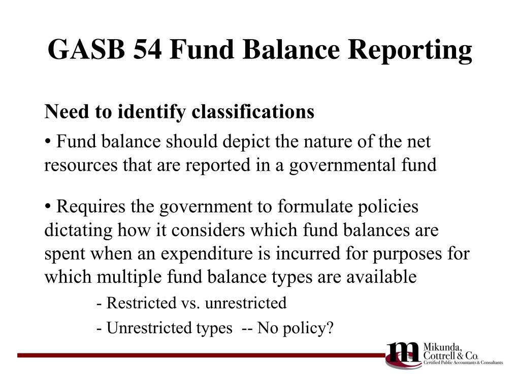 GASB 54 Fund Balance Reporting