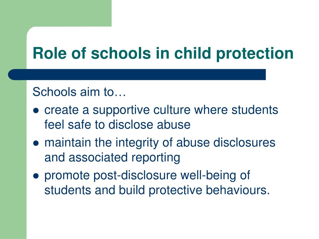 Role of schools in child protection