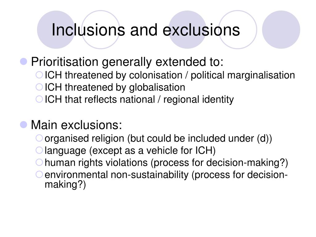 Inclusions and exclusions