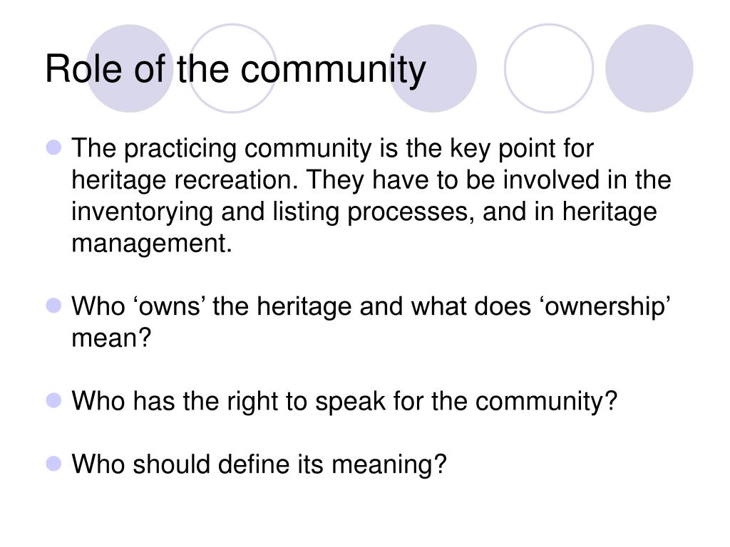 Role of the community