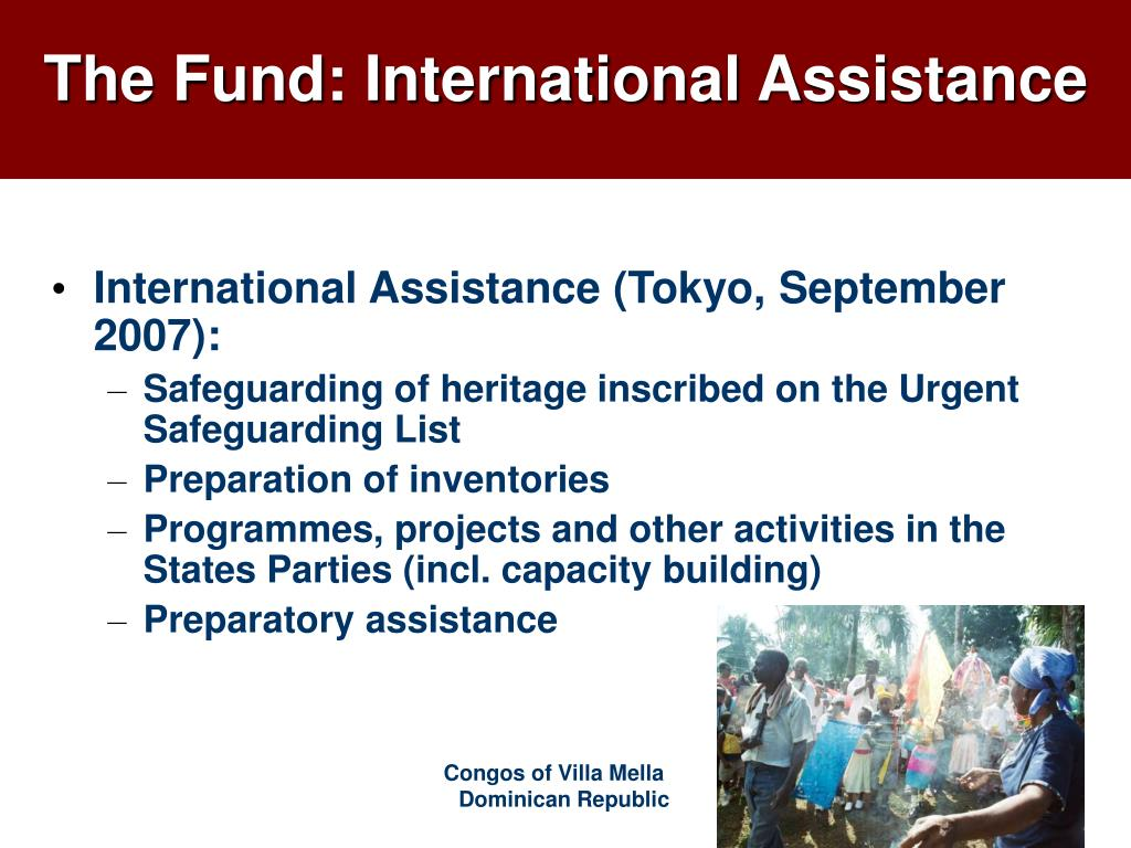 International Assistance (Tokyo, September 2007):